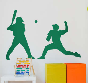Baseball wall sticker. This wall sticker consists of a silhouette outline of two baseball players.