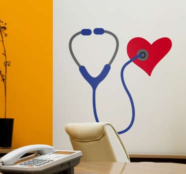 Decorate your surgery with this cute stethoscope wall sticker. The sticker consists of a smiling stethoscope listening to a heart.