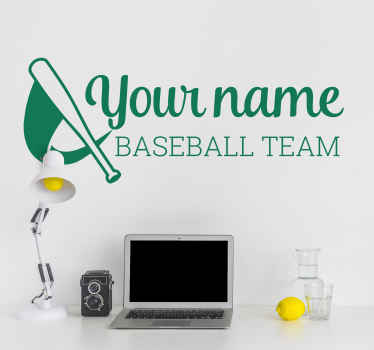 Personalised baseball team name sticker. Why not decorate it with the name of your baseball team