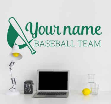 Wandtattoo personalisierbar Baseball Team