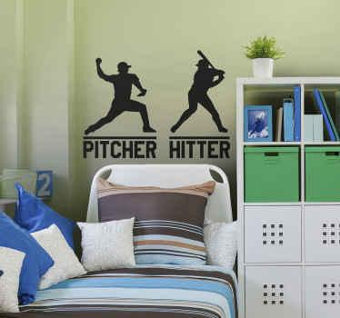 Pitcher and Hitter Baseball Wall Sticker