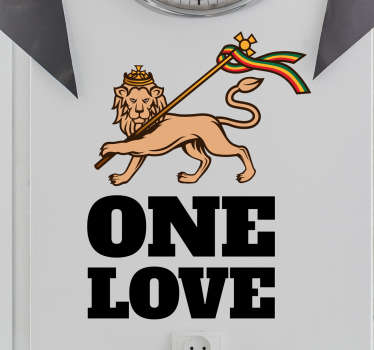 Text vinyl decal of pop music that depict Rasta. This amazing design is featured with a lion with '' one love'' text. It is available in any size.