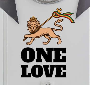 Muursticker One Love Rasta Leeuw