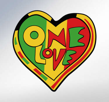 "This Rasta wall sticker radiates peace and love. The wall sticker consists of the message ""one love"" the famous song from Rastafarian, Bob Marley."
