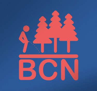 Vinilos Barcelona con una representación del icono de un hombre orinando y las siglas BCN que hacen referencia a la capital de Cataluña.