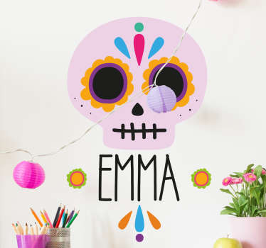Colorful Halloween wall sticker with the design of a scary monstrous Mexican skull to decorate any space of choice. It is customisable with name.