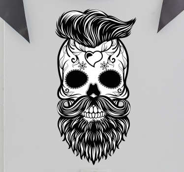 Skull wall stickers and barber stickers - A unique and original sticker featuring a skull with a hipster style haircut, beard and tattoos.