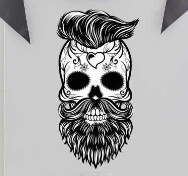 Adesivo decorativo teschio hipster Messico