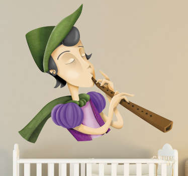 Decorative sticker illustrating Pied Piper of Hamelin. A supernb decal to decorate your child´s room which will make them smile.