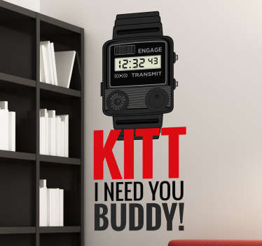 Muursticker Horloge KiITT Knightrider