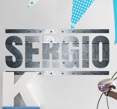 "Awesome personalised text wall sticker showing a name of your choice written in a metal pattern font with steel effects, in this case ""SERGIO"". This amazing name decal is perfect for decorating a teenager's room in a way that feels unique and personal to them."