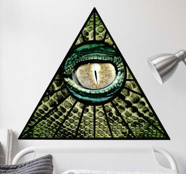 Wall Sticker of a sign which is widely known as the Illuminati symbol with a reptilian eye in a triangle or pyramid.
