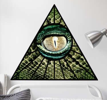 三角形またはピラミッドの爬虫類の目を持つイルミナティ記号として広く知られている記号の壁ステッカー。