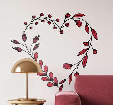 Autocollant mural motif floral intense