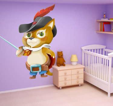 Puss in boots dětská nálepka na stěnu