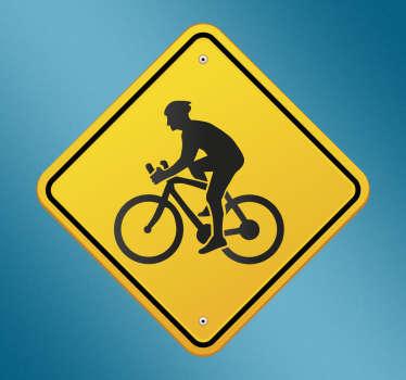 Muursticker waarschuwingsbord fietsers