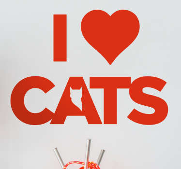 Muursticker I love Cats