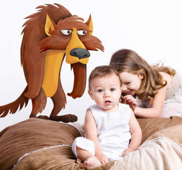 Kid Wall Stickers-playful illustration of a grumpy wolf.  Ideal for the kids´bedrooms, nurseries and play areas