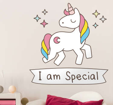 Unicorn wall stickers - A sparkling unicorn with the message I am special written underneath. The unicorn decal has a lovely rainbow coloured mane.