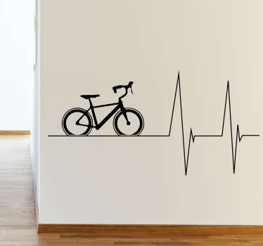 A wall sticker of a bike with a heartbeat line. A nice wall decoration for cyclists who feel their heart rate increasing the faster they ride.