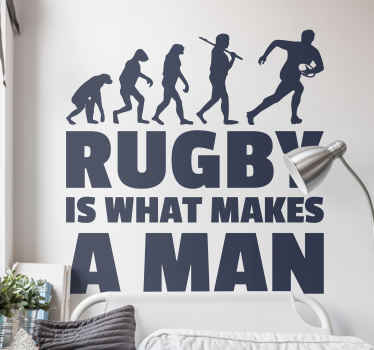 Muursticker sport Rugby makes a man