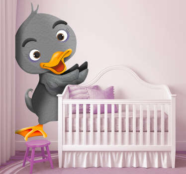 Kid Wall Stickers;Playful illustration of a duck inspired by a childhood tale classic - The Ugly Duckling.