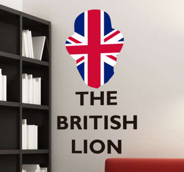 "British Wall Sticker. The sticker consists of the message ""The British Lion"" with the Union Jack flag cut out in the shape of a lions head."