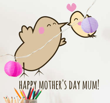 Happy Mother's Day Birds Wall Sticker