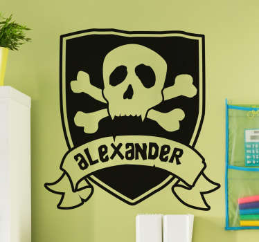 This customisable sticker features a a pirate flag complete with skull and crossbones with a banner reading the name of your choice.