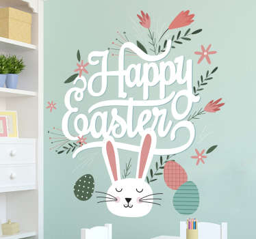 "Happy Easter wall sticker. The wall decoration consists of a bunny rabbit, Easter eggs and flowers around the message ""Happy Easter!"""