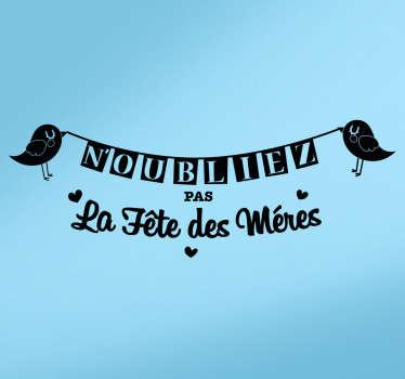 Sticker fête des mères oiseaux banderole