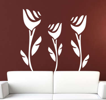 Autocolante decorativo três rosas abstratas