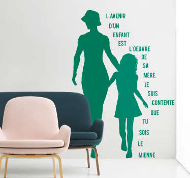 Sticker fête des mères texte silhouettes