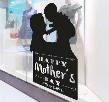 Sticker with a silhouette of a mother and a child below the text Happy Mother's Day. A beautiful and original gift for Mother's Day.
