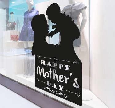 Sticker fête des mères anglais silhouettes