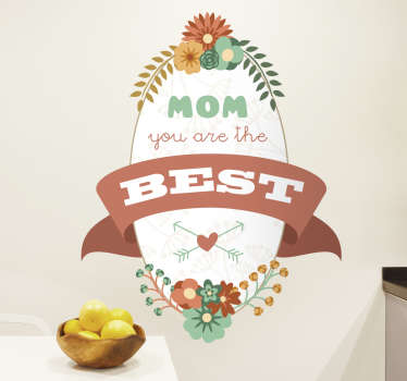 Vinil estilo retro floral para mães