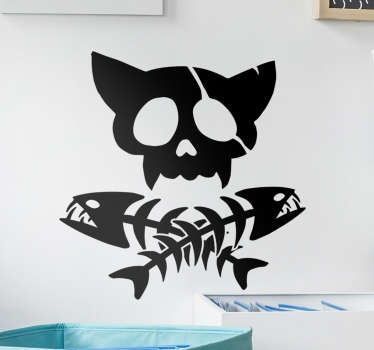 Check out this gorgeous Halloween wall decal that has a cat skull and fishbones on it. Available in 50 colors and customizable size