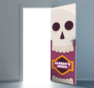 This customisable sticker specifically designed to cover a door features a colourful skull design alongside the name of your choice.