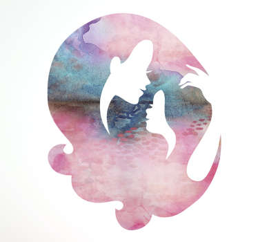 Silhouette Sticker of a Mother and Daughter surrounded by Watercolour. A beautiful decoration for the walls of a house