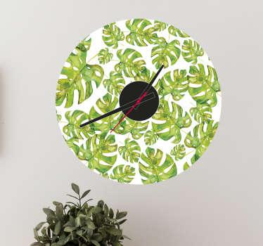 Wandtattoo Uhr Regenwald Blätter