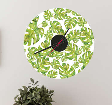 Vinil autocolante relógio de parede folhas