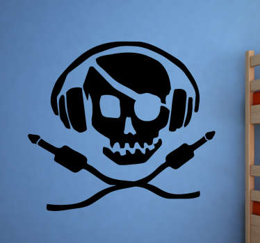 Wall Sticker of a funny pirate DJ. Are you a modern pirate? Then this removable wall sticker is for you!