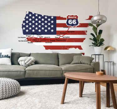 Adesivo decorativo Mappa Route 66
