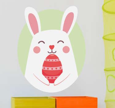 Sticker lapin pâques heureux