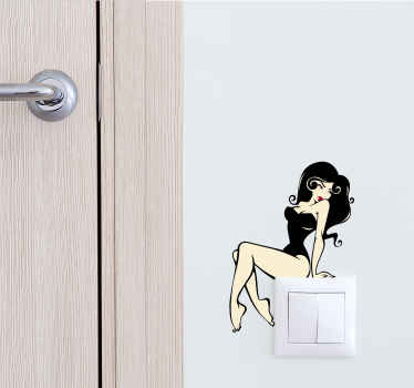 Light switch or plug socket switch sticker with a sexy model sitting on the light switch. The model has a black bathing suit and long black hair. Although everyone uses light switches every day, we rarely decorate them even though it's so easy!