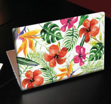 Floral laptop decal with beautiful, colourful flowers and plants. Add decoration to your laptop with this floral design.