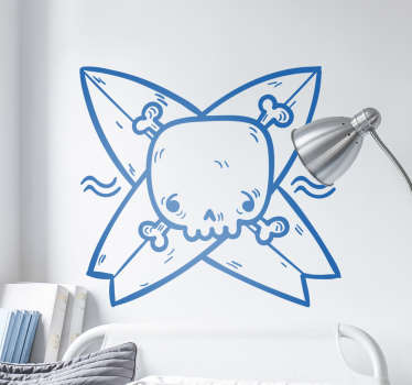 Check out this cool kids wall sticker that has a skull and surfboards on it. You can get it in 50 colors and custom the size.