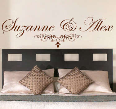 A beautiful elegant customisable wall sticker featuring the two names of your choice! Perfect for couples