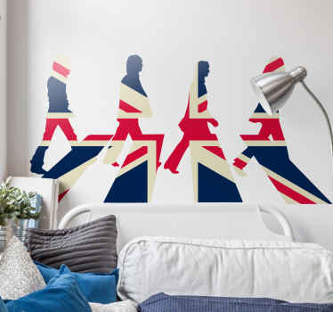 Wall Sticker with the silhouettes of the Beatles from the famous cover of their album Abbey Road, but in the colours of the Union Jack.