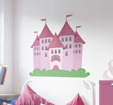 Wall Sticker for children with a wonderful and magical castle in different shades of pink. A beautiful wall decoration for the nursery or baby room